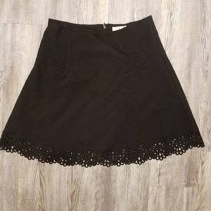 Loft open lace black flare skirt